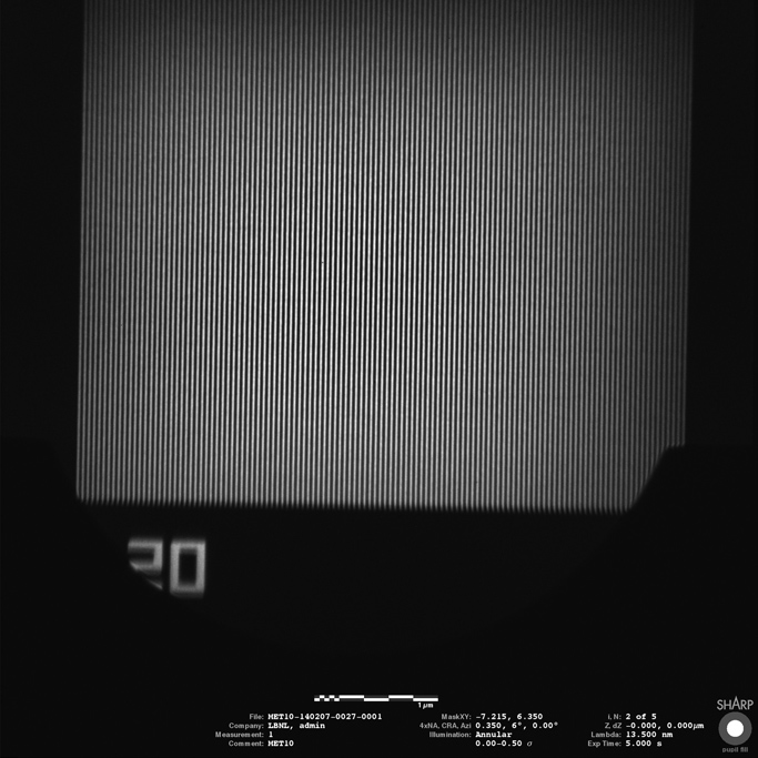An EUV (actinic) mask image from the SHARP microscope